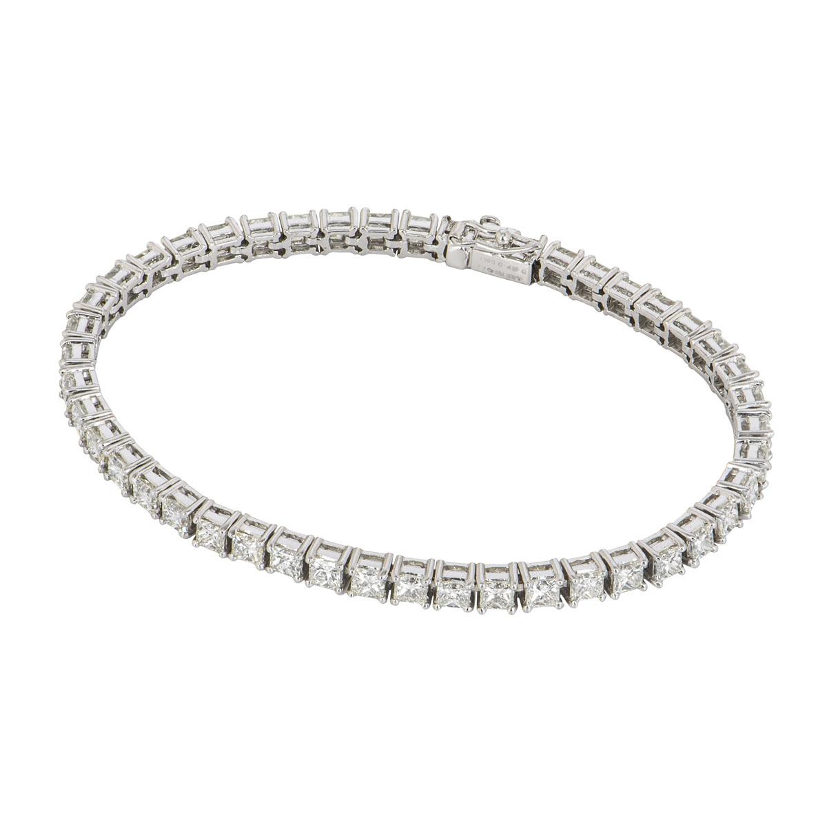 White Gold Princess Cut Diamond Line Bracelet 8.94ct